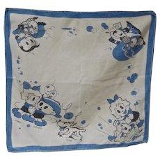 Vintage Children's Handkerchief w/Cartoon Character Scrappy, 1930's