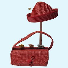 VIntage Doll Red Straw  Hat & Purse, 1950's
