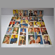 VIntage 1950's Movie Star Trading Cards, 31 Total