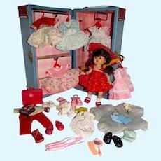 "Nancy Ann 8"" Muffie Doll w/Trunk & Clothing, 1950's"