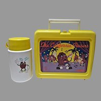 Vintage 1988 California Raisins Plastic Lunch Box & Thermos