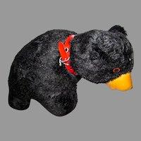 Cute Vintage Plush Black Bear, Made In Japan, 1950's