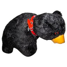 Cute Vintage Plush Black Bear, Made In Japan, 1950's