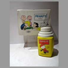 Vintage Peanuts Vinyl Lunch Box& Thermos, 1973