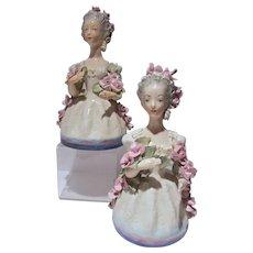 "Pair of Vintage Cordey Porcelain 11 "" Lady Firgurines w/Roses, 1940's"