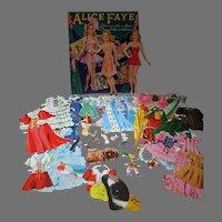 Vintage 1941 Alice Faye Paper Dolls, Merrill, Cut