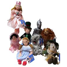 Set of 8 Warner Bros. Studios Wizard of Oz Plush Dolls, 1998