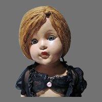 "Effanbee Compo 21"" Little Lady, Anne Shirley Doll in Black Negligee& Yarn Hair, 1944"