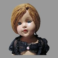 "Effanbee Compo 21"" Little Lady, Anne Shirley Doll in Black Negligee& Yarn Hair, 1944"