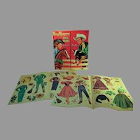 1953 Roy Rogers Dale Evans Paper Dolls, Whitman, Folder &Clothing