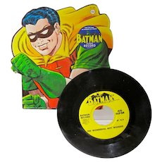 1966 Batman, Robin 45 RPM Record, Die Cut Picture Sleeve