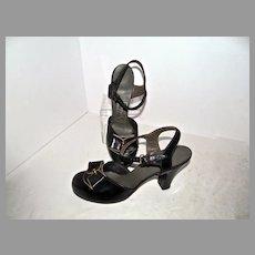 Vintage Ladies 1940's Leather Ankle Strap High Heels