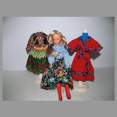 1970's French Bella Tressy Doll w/ Extra Outfits