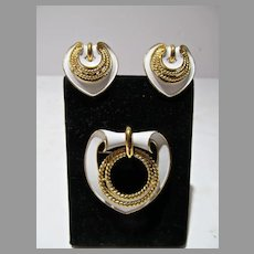 Elegant 1960's Trifari Brooch and Earring Set