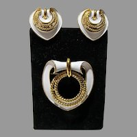 Elegant 1960's Trifari Brooch and Earring Set
