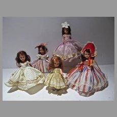 Five Vintage Nancy Ann Storybook Dolls, 1940's