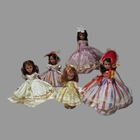 Five Vintage Nancy Ann Storybook Dolls, 1940's