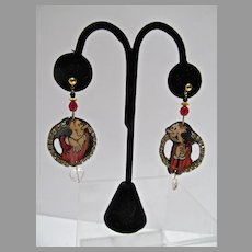 Vintage 1980's Whimsical Comic Strip Character Drop Earrings, Designs from the Deep