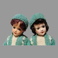 Pair of Mary Hoyer HP Skaters, 1950's, Charming!!