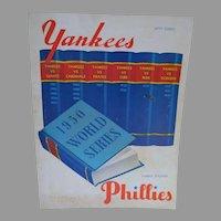 1950's World Series Program Yankees vs, Phillies, Yankee Stadium
