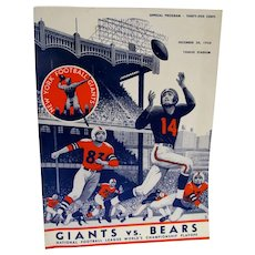Orig. 1956 NFL Football Championship Playoff Official Program Giants vs.Bears