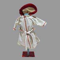 "VIntage White Vinyl Hooded Raincoat for 10 1/2"" Fashion Doll, 1950's"