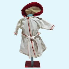 "VIntage White Vinyl Hooded Raincoat for 10 1/2"" Fashion Doll, 1950's"