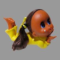 VIntage Big Eyed Vinyl Doll with Tear, 1960's So Cute!!