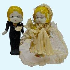 Antique 1920's Bisque Wedding Cake Bride&Groom, All Original