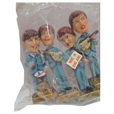Old Store Stock Sealed Beatles Bobblehead Nodders Cake Toppers, 1960's
