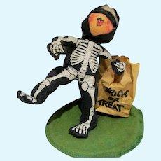 Vintage Annalee Mobilitee Halloween Trick or Treat Skeleton Kid, 1988