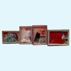 Set of 4 Miniature Boxed Barbie Outfits by Rebecca's Miniatures, 1990's