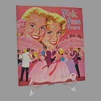 Mint Un-Cut Paper Dolls, Pink Prom Twins, Merrill, 1956