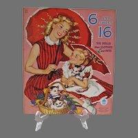 6 and Sweet 16 Paper Dolls & Pets, Merrill, 1955 Mint Un-Cut