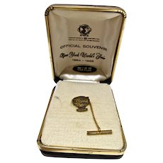 New York World's Fair, Unisphere 12 KT. Gold Filled Tie Pin, MIB