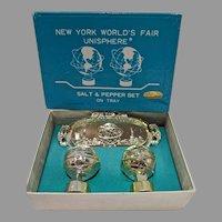 Mint Un-used 1964-65 New York World's Fair Unisphere Salt&Pepper Set