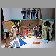 """Mego 12"""" Cher and Dressing Room with Outfits and Accessories"""