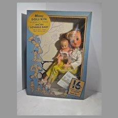 Rare MIB Mommy Dollikin & Her Baby, Uneeda, 16 Jointed Doll Mannikin, 1950's