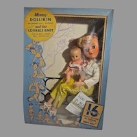 Rare MIB Mommy Dollikin & Her Baby, Uneeda, 16 Jointed Doll Mannikin, 1950's