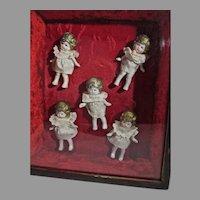 Set of Vintage Bisque Dionne Quintuplets in Vintage Framed Box, 1930's