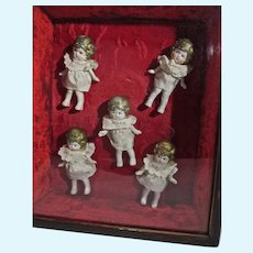 Set of Vintage Bisque Dionne Quintuplets in Vintage Framed Box, 1930's