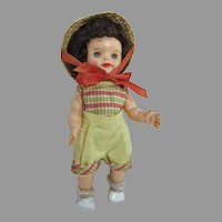 Cute Vintage Effanbee Fluffy Doll in Original Shorts Outfit w/Hat, 1950's