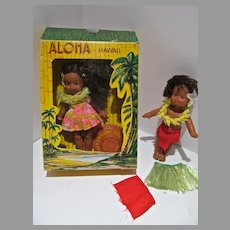 Pair of Vintage Hawaiian Dolls, Maile, 1974, MIB& Loose