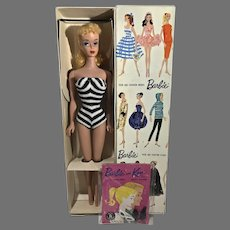 MIB #4 Blond Ponytail Barbie, 1961, Mattel