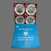 MIB Set of 4 Souvenir Ceramic Ash Trays New York World's Fair, 1964-65