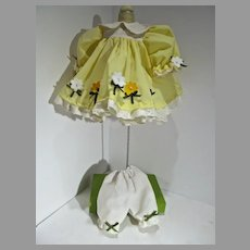 Charming Yellow Doll Dress with Felt Flowers, Slip and Panties, 1990's