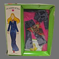 """NRFB World Of Love Doll Outfit, """"Jazzy Jeans"""", Hasbro, 1971"""