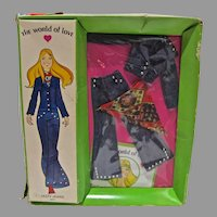 "NRFB World Of Love Doll Outfit, ""Jazzy Jeans"", Hasbro, 1971"