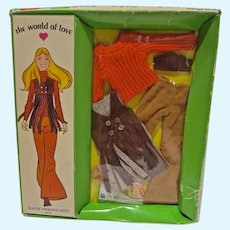 Vintage Hasbro World of Love Outfit, Suede Fringed Vest, 1971