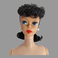 Vintage 1961 Brunette Ponytail Barbie w/Big Ruby Lips, Mattel